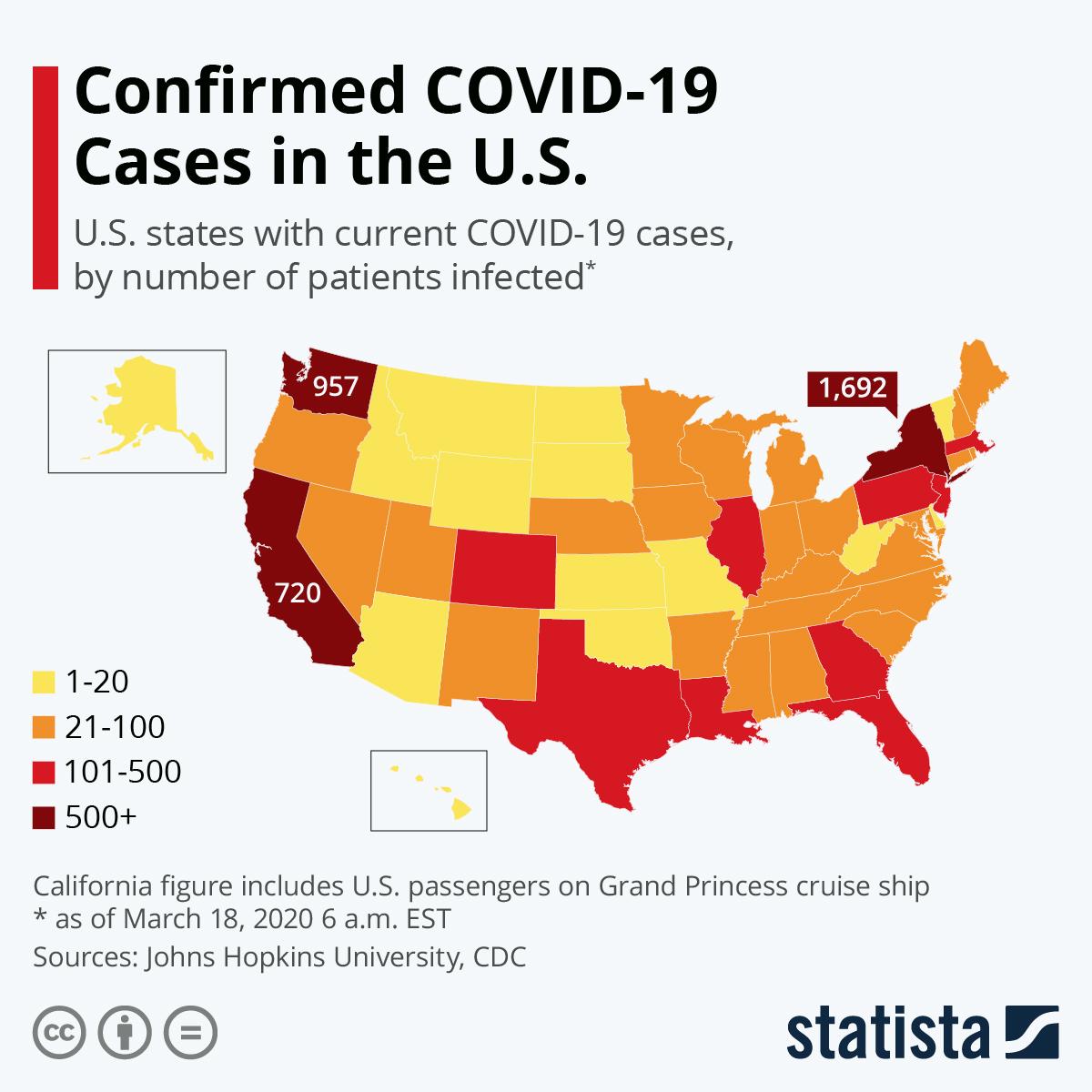 ΠΟΥ ΕΧΟΥΝ ΕΠΙΒΕΒΑΙΩΘΕΙ  ΚΡΟΥΣΜΑΤΑ ΤΟΥ COVID-19 ΣΤΙΣ ΗΠΑ/ΧΑΡΤΗΣ